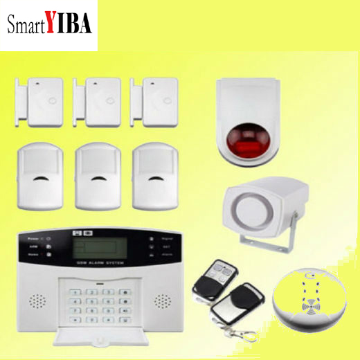 SmartYIBA Wireless 433MHz GSM Alarm System Home Burglar Alarm System LCD Keyboard Fire Smoke Detector Sensor Russian French smartyiba wireless 433mhz gsm alarm system home burglar alarm system lcd keyboard fire smoke detector sensor russian french