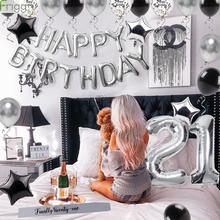 Frigg 40Pcs Happy Birthday Balloons Silver Black Foil Balloon Adult 21th Party Decoration 21 Supplies