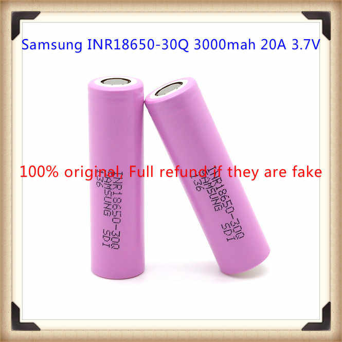 2 Pack of Authentic 30Q 3000mAh 3.7V 15A Rechargeable Battery Flat Top for Flashlight