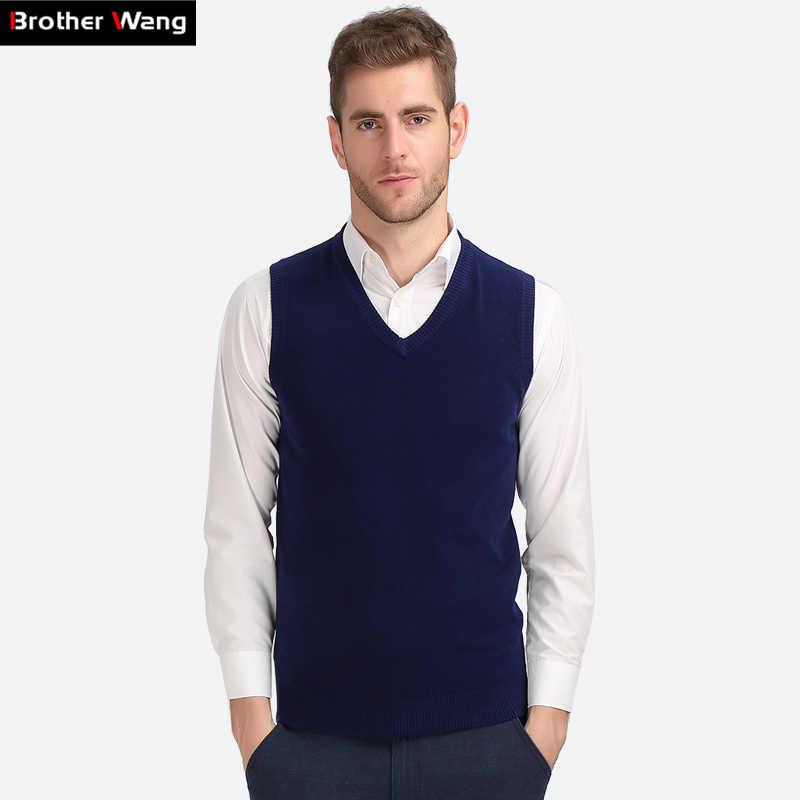 Brat Wang Business Casual z dzianiny kamizelka mężczyzna 2019 jesień zima nowy V kołnierz Pulower bawełniany wąski sweter męskie czarne