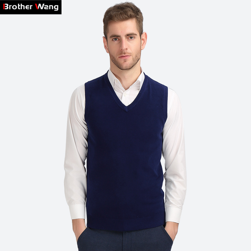 Brother Wang Business Casual Knitted Vest Male 2020 Autumn Winter New V Collar Cotton Pullover Slim Sweater Mens Black