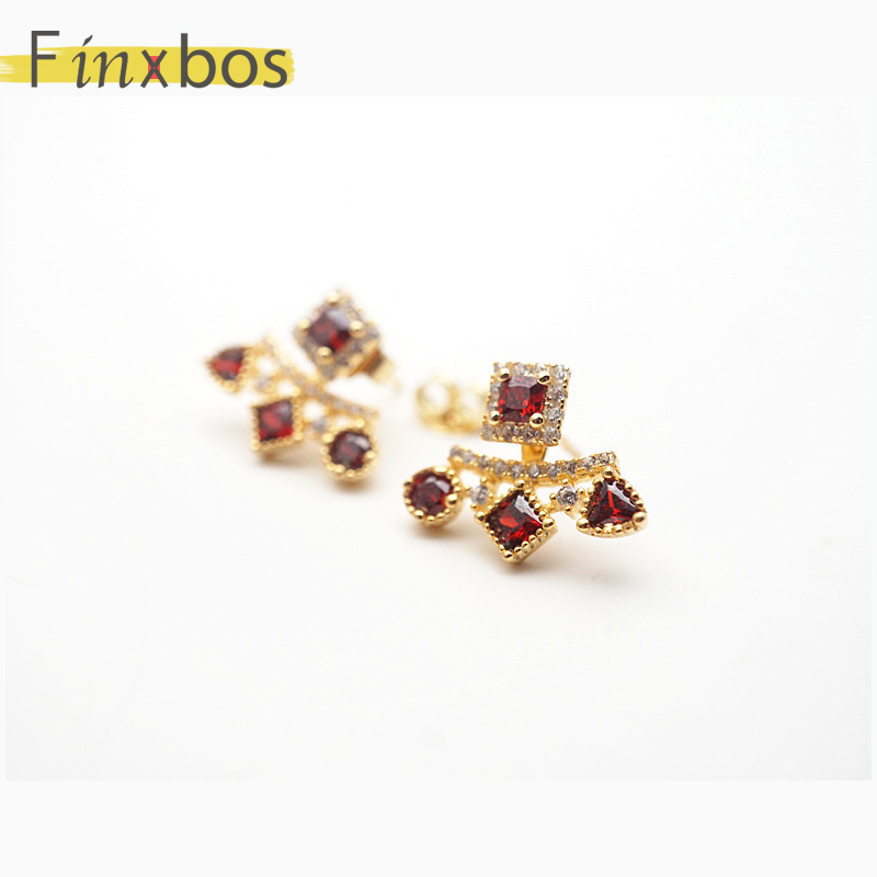 Finxbos 925 argent Sterling plaqué argent grenat naturel avec boucles d'oreilles amovibles pour femme - 2