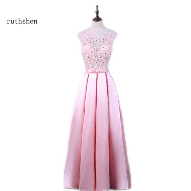 Ruthshen sexy vestido largo rosado Encaje Appliques con brillante ...