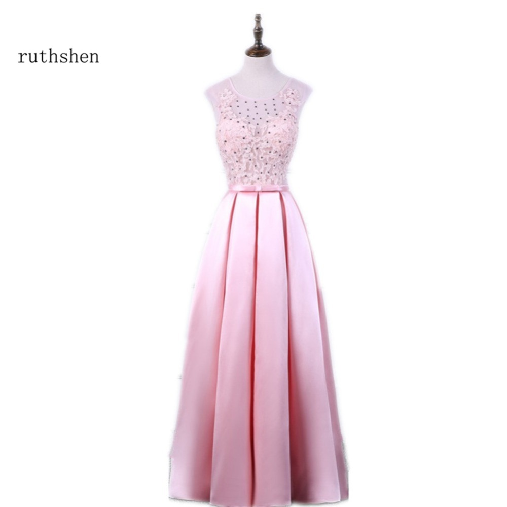 ruthshen Sexy   Prom     Dress   Pink Long Lace Appliques With Shiny Stones Ruched Party Evening   Dresses   Formal Vestidos De Baile