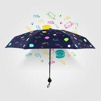 Fashion Cat Doodle Sunscreen Umbrella Sunshade Mini Pocket Umbrellas for Student Small Fresh Umbrellas Cute Cats Guarda Chuva