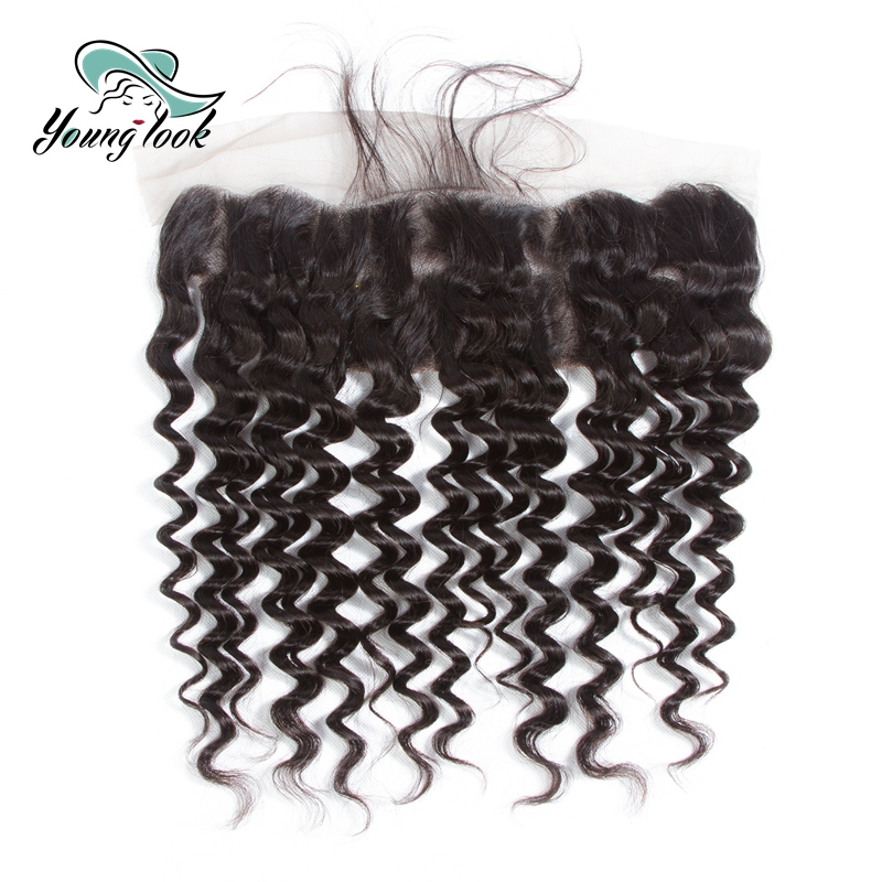Young Look Hair Deep Wave 13*4 Lace Frontal With Baby Hair Peruvian Human Hair Remy Hair Weaves Natural Color Hair Extensions