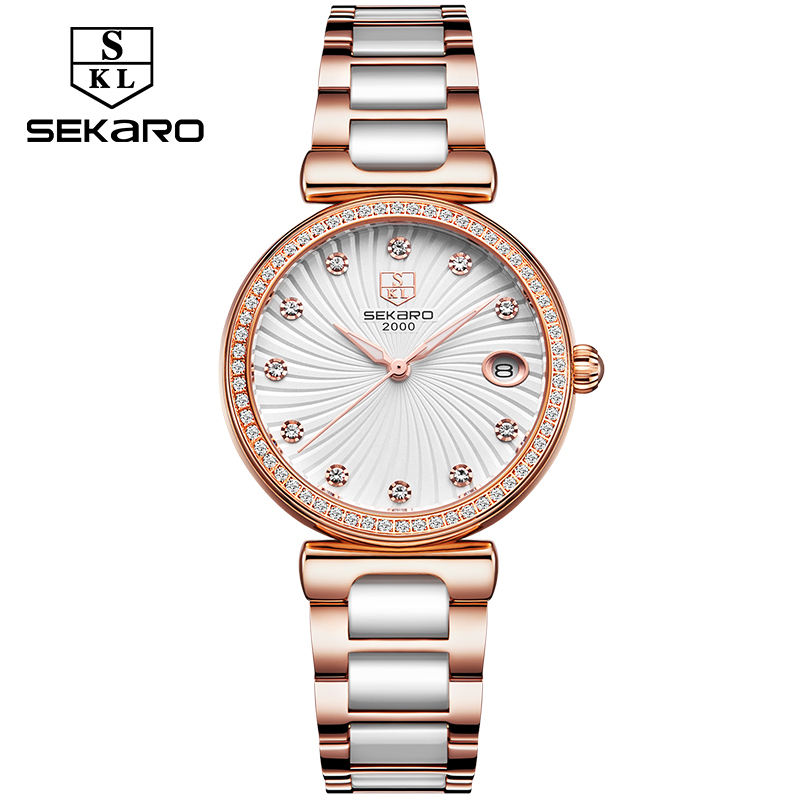 Sekaro Ladies Diamond Clock Dress Women Watches Luxury Ceramic Strap Watch Women's Wristwatch Relogio Feminino Montre Femme sinobi ceramic watch women watches luxury women s watches week date ladies watch clock montre femme relogio feminino reloj mujer