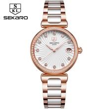 Sekaro Ladies Diamond Clock Dress Klockor Klockor Luxury Ceramic Strap Watch Klockor Armbandsur Relogio Feminino Montre Femme