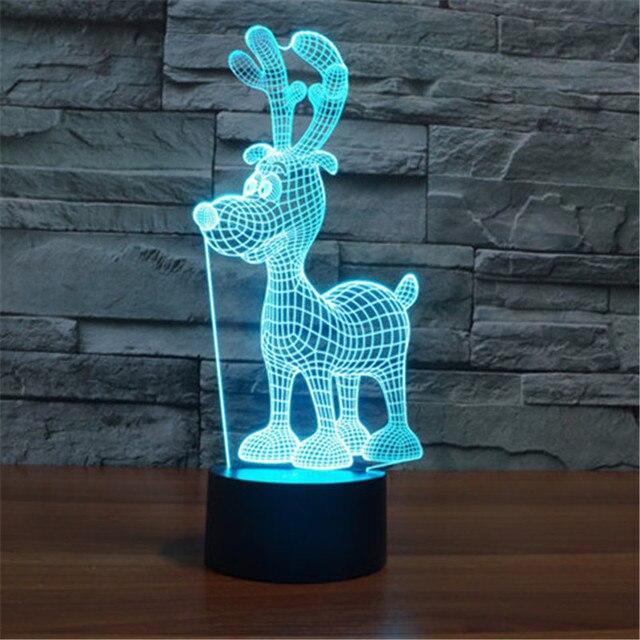 Creative 7 Colors Cute 3D Christmas Deer Acrylic Visual Light LED Lamp Bedroom Table Decoration Light Kids Gifts 3D-TD138+134