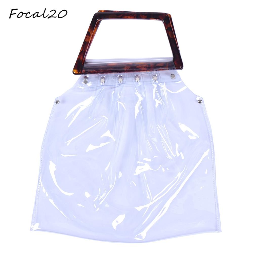 Focal20 New Design Transparent PVC Resin Women Handbag Top Handle Portable Storage Bag Women Fashion Shopping Bag
