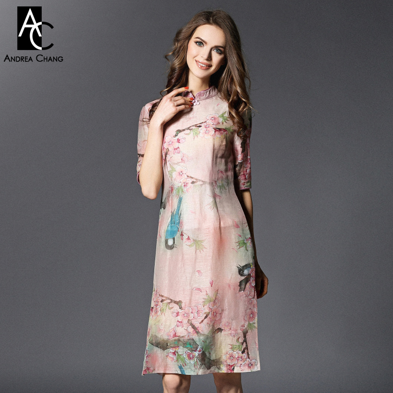 spring summer runway designer womens dress pink silk linen dress cotton lining flower bird print knee length quality brand dress