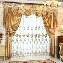 Set Helen Curtain Luxury Curtains For living Room With Valance European Style Embroidered Flower Curtains For