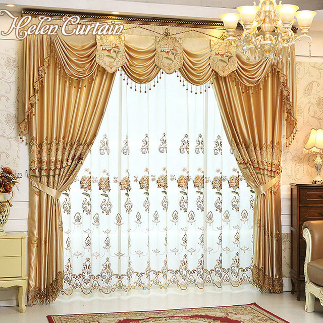 Set !Helen Curtain Luxury Curtains For living Room With Valance European Style Embroidered Flower Curtains For Bedroom V56