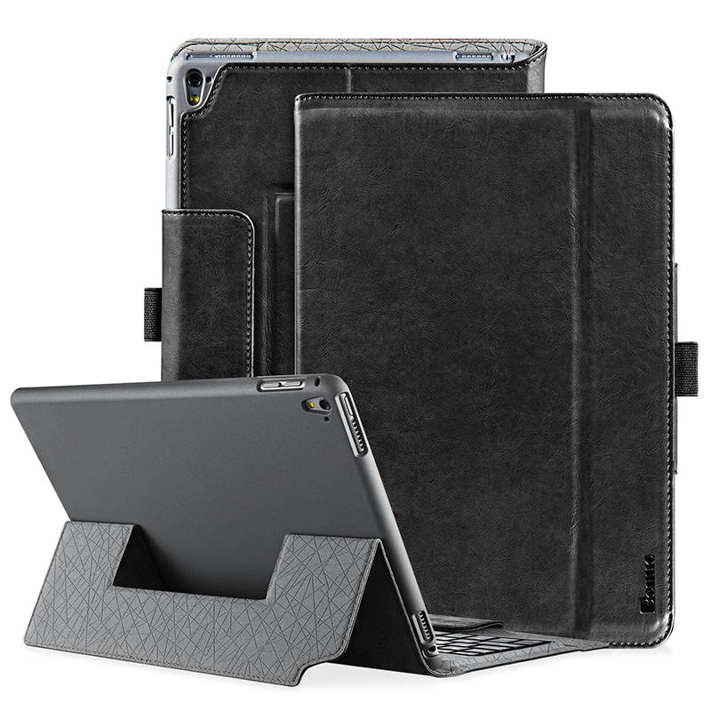 For iPad Pro 9.7 Keyboard Case 9.7 Genuine Leather Case Protective Flip Folio Wireless Bluetooth Keyboard Case Magnetic Closure ...