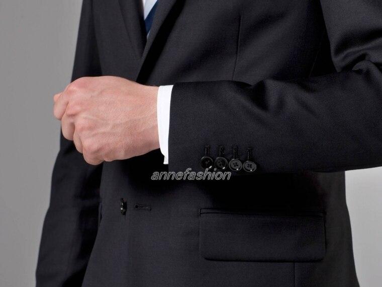 Qualité Pure Deux Noir Italien Costume Hommes Peignée Livraison Gratuite Boutons Haute Trois Pièces D'affaires Essentiel Laine SVpUzM