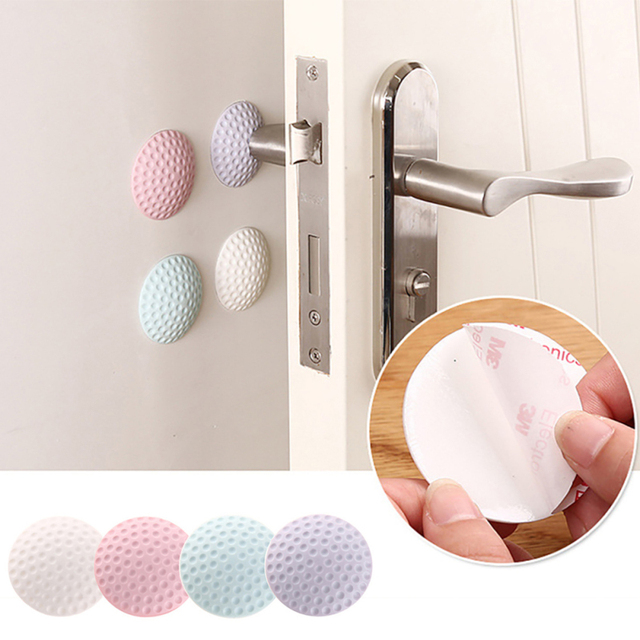 2pcs/lot Mute the rubber door wall thickening crash cushions round doorknob protective pad crash pad anti-collision crash pad V3