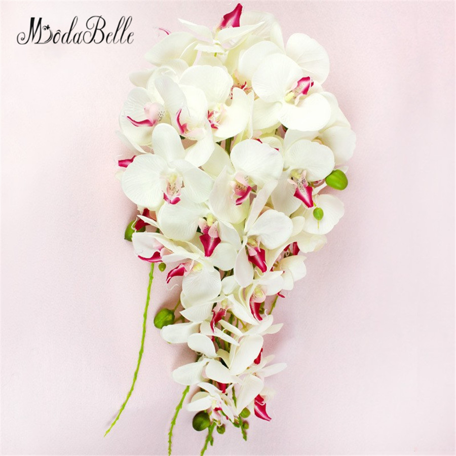 Modabelle Waterfall Pastoral Wedding Brides Bouquet Bridesmaid Western Artificial Phalaenopsis Wedding Flowers Bridal Bouquets