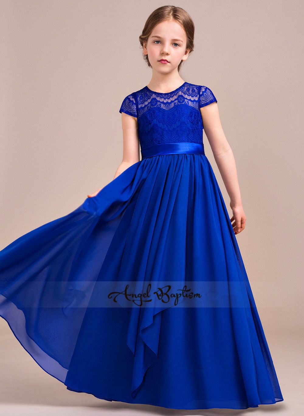 Royal blue chiffon A-Line sheer lace Junior Bridesmaid girl dress for wedding Piano and violin performing gown with bow ruffles how to plan a wedding for a royal spy