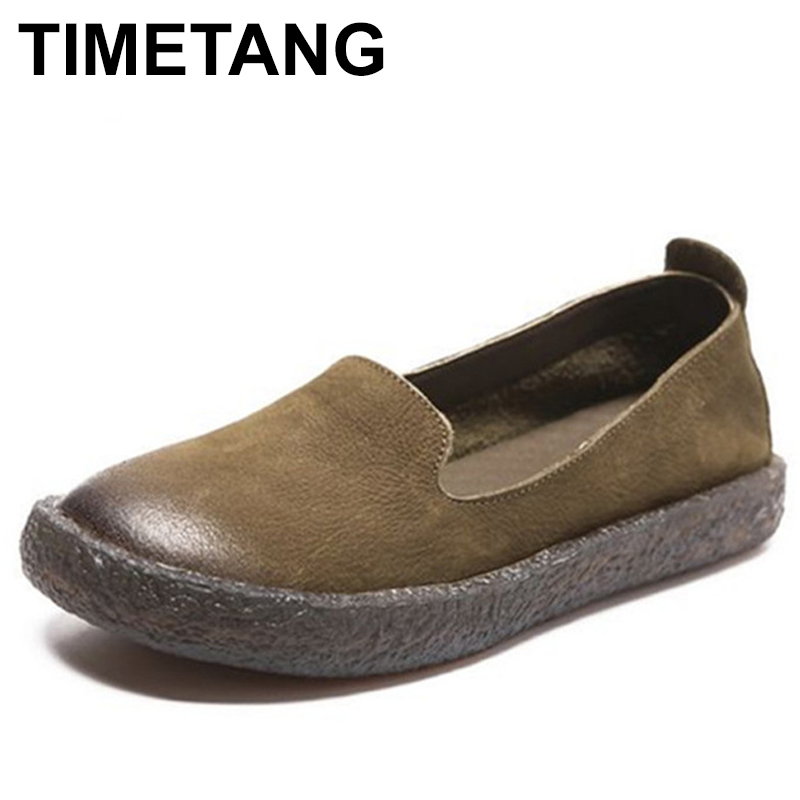 TIMETANG New 2018 vintage genuine leather women shoes autumn cow leather flats shoes for woman designer brand Flat with C172 спот 66688 paulmann