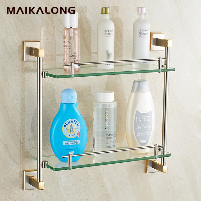 Platz design Doppel Badezimmer Regale, Glas Regal, gold gebürstet ...