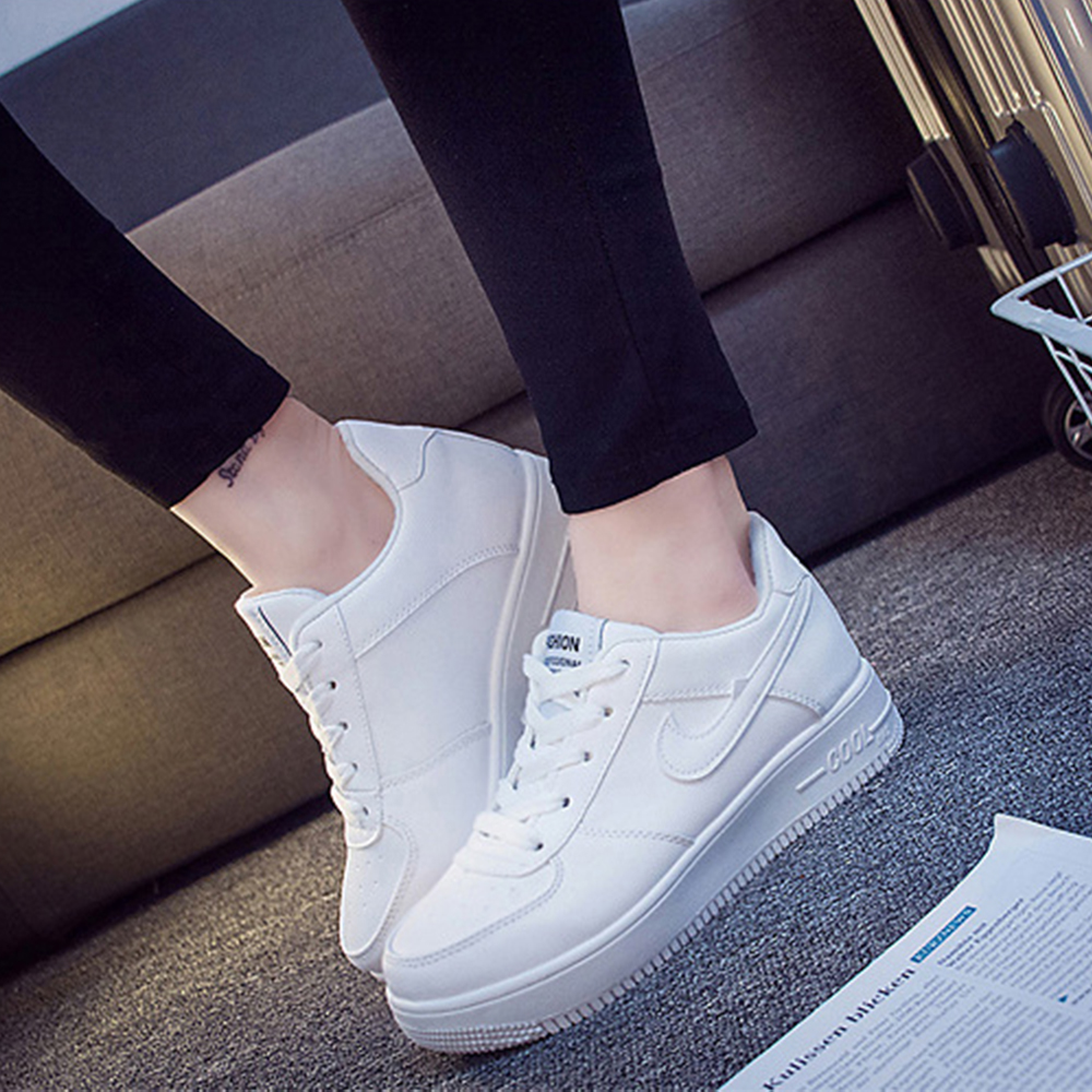 2016 Newest Classic All White Unisex Casual Shoes Footwear High Top Women Breathable Walking Shoes Plus