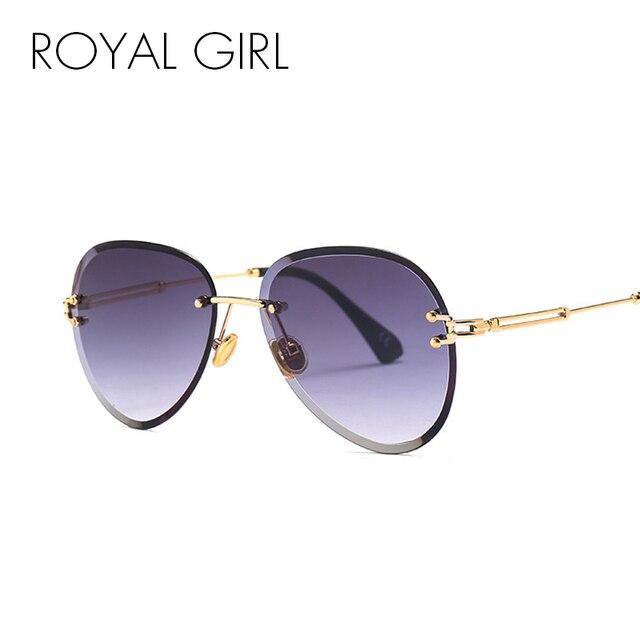 ROYAL GIRL Rimless Oval gafas de sol mujer 2018 marca de moda diseñador  Gradient gafas mujer 81f18c97cdb5