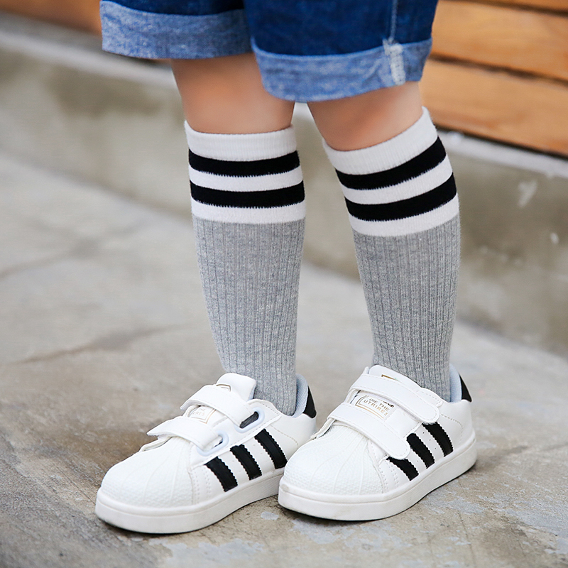 Baby Boy Girls Knee High Sock Cotton Blend Long Socks Kids 1-5y Warm Leg Warmers Toddlers Baby Girl Sock Striped Spring/autumn