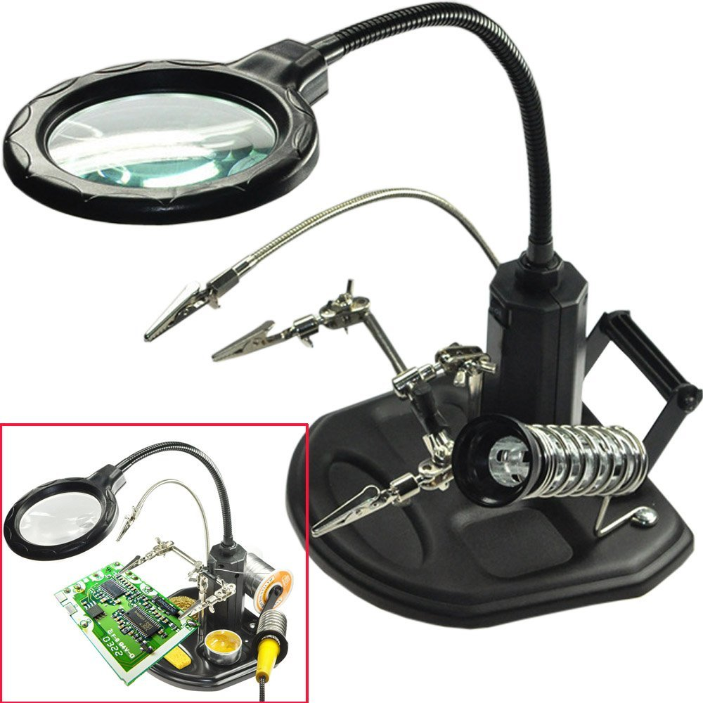 Welding Magnifying Glass with LED Light 3X 6X lens Auxiliary Clip Loupe Desktop Magnifier Soldering Iron Stand Station Magnifier Magnifiers     - title=