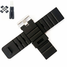 For Suunto Generic 24 mm Black Silicone Rubber Strap Watch Band With Watches Buckle Belt + Adapters Tools Any