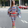 2016 Runway Designer Set Summer New Women Batwing Sleeve Printed Tops + Ankle Length Casual Pants