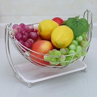 Kitchen Shelves Livinf Room Fruit Basket Semicircle Food Organizer Square with Storage Tray