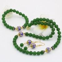 Factory outlet naturalne chalcedon Tajwan zielony kamień jades 8mm koraliki okrągłe kolczyki naszyjniki bransoletki biżuteria setB2684
