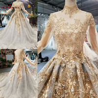 A line Floor Length Tulle Lace Vintage Wedding Dresses Full Sleeves Bridal Gown 2018 New Design QUEEN BRIDAL WD35