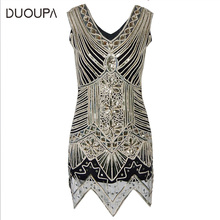 Plus large size summer womens Knee-Length explosion models sequins hand-woven dress 1920s retro sequin movie