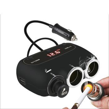 3-Socket Cigarette Car Lighter Adapter DC Outpet 12V24V Dual USB Car Charger  Car Accessories Iphone Car Charger # ZC
