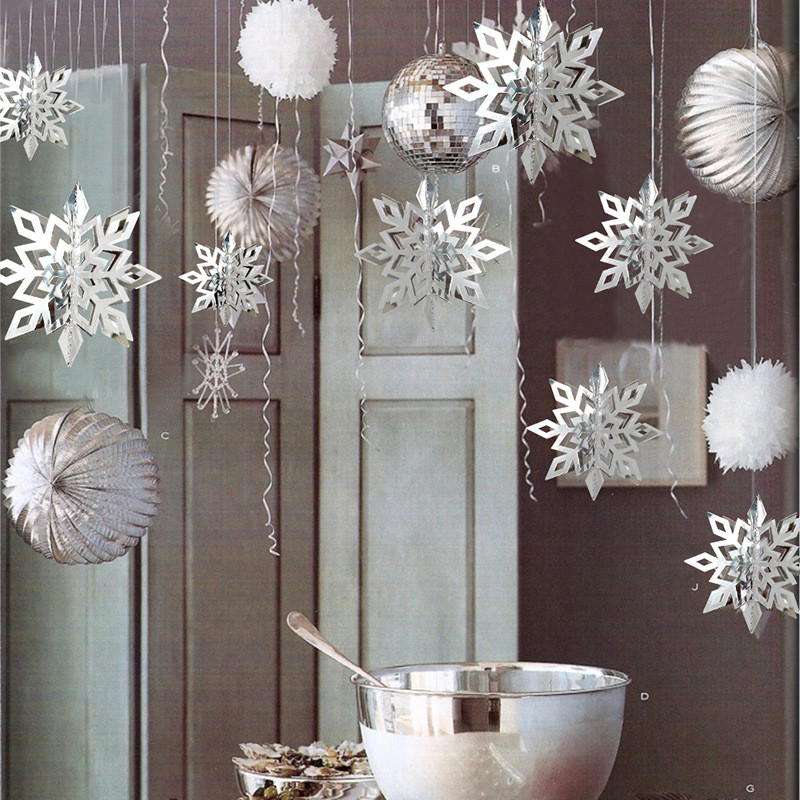 6pcs Set Hollow Snowflake Ceiling Hanging Ornaments Snow Flake Garland For Christmas Frozen Party Supplies Home Decoration