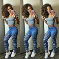 2016 NEW Sexy Mulheres Denim Calças Skinny Buraco Cintura Alta Estiramento Calças Lápis Slim calças de Brim Azul