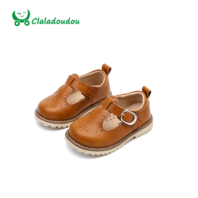 Claladoudou Formal Genuine Leather Shoes Spring New Korean Version Children Shoes British Retro T-shaped Carved Flower Shoes