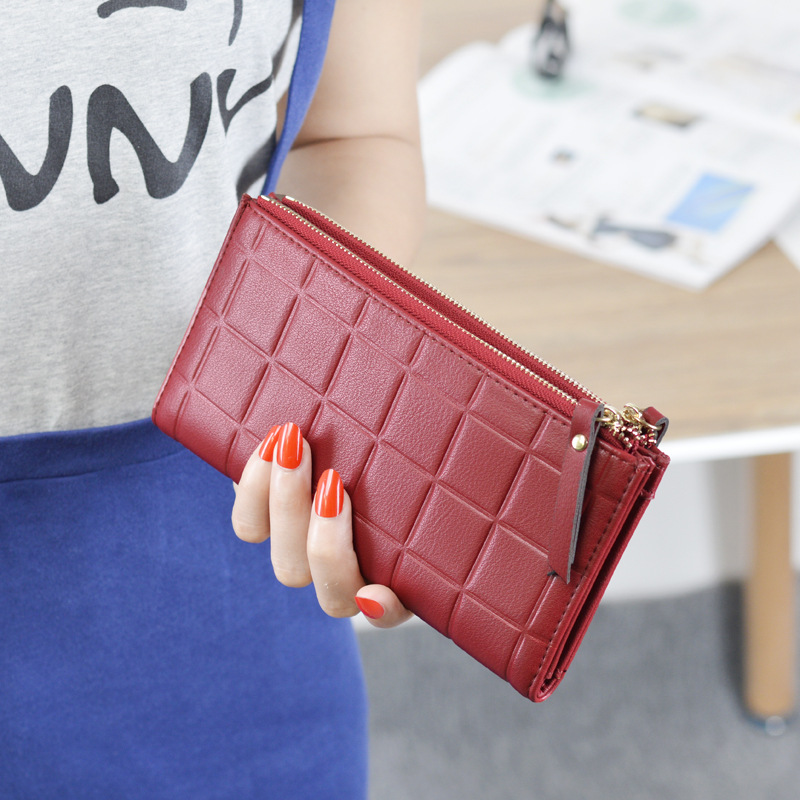 2018 Women Leather Purse Plaid Wallets Long Ladies Colorful Wallet Clutch Card Holder Coin Bag Female Double Zipper Wallet Girl new fashion women leather wallet deer head hasp clutch card holder purse zero wallet bag ladies casual long design wallets
