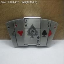 Neue Stil Poker Eine kerosin feuerzeug Gürtelschnalle 110*64mm 163,1g silber Farbe Metall Für 4 cm Breite Gürtel kühlen Männer Jeans zubehör