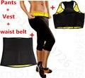 Pantalones + chaleco + cinturón faja de neopreno traje de adelgazamiento de fitness entrenador de control panties tummy Cinturón delgado Shapewear de la ropa interior conjunto