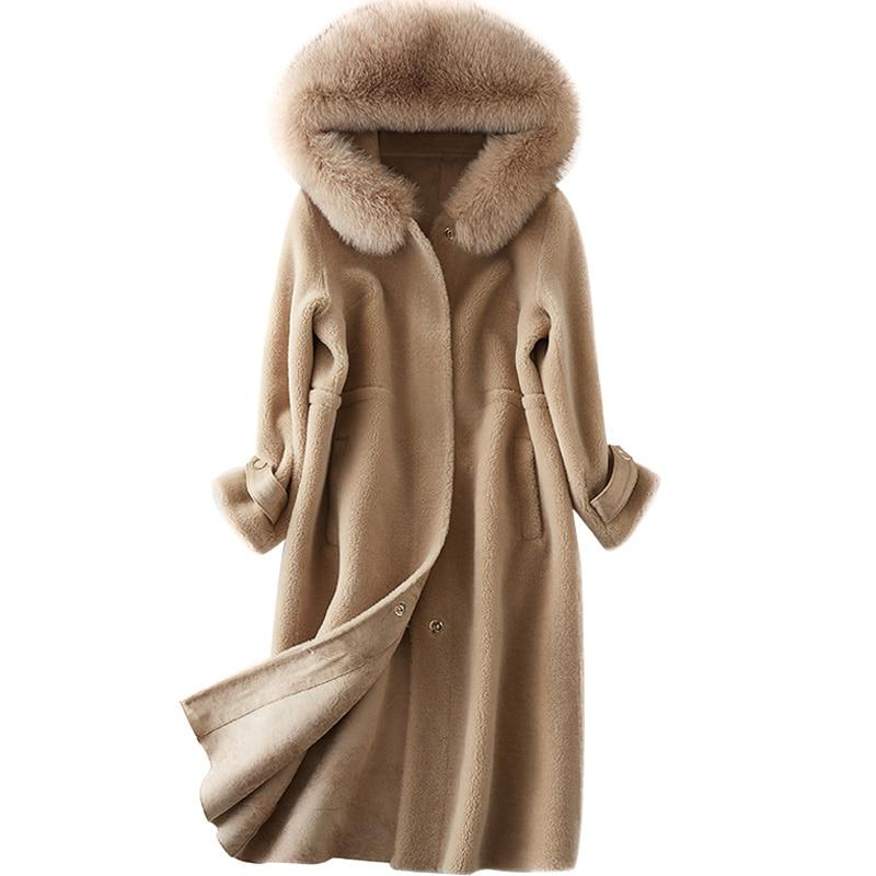 Gray Long Femmes Color Réel Vêtements Renard Fourrure Des Hiver caramel camel Colour Col De Manteau Zt226 Moutons Veste 2018 À Capuchon Tonte Tops Automne pPq6HpA