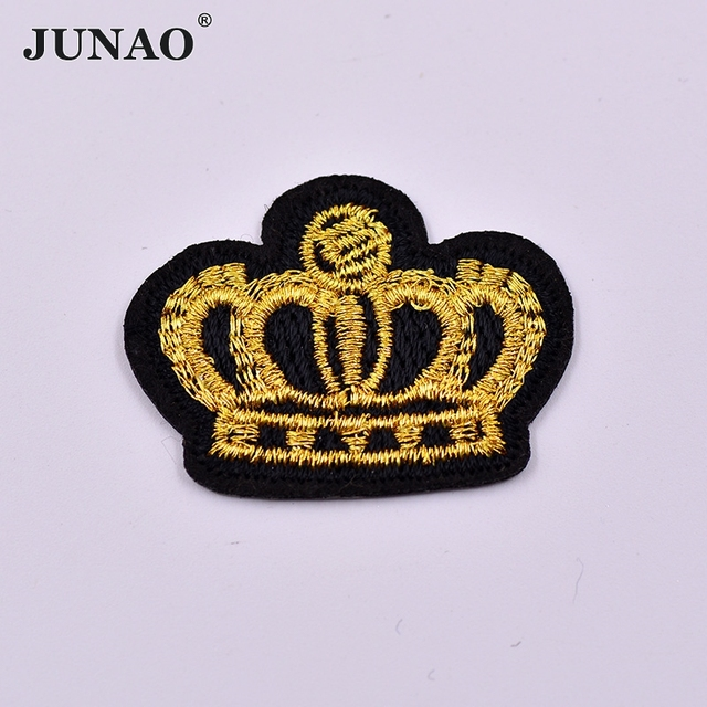 10pcs Gold Color Crown Embroidery Patches Hotfix Motif Iron On Sew On Patch  Clothing Applique 0ae769917507