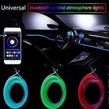 Voice Sound Active RGB LED Car Interior Light Multicolor EL Neon Strip Bluetooth Phone Control Atmosphere 12V 6M