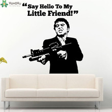 Removable Say Hello To My Little Friend Mafia Movie Cinema Motion Quote Wall Decal Vinyl Sticker Art Home Decor Poster NY-399