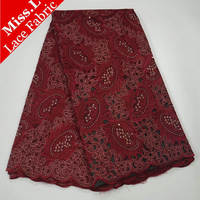 Miss.L Distinctive design 5 yards High quality African mesh Lace Fabric with Beads and stones Swiss Lace Fabric for dress,DIY