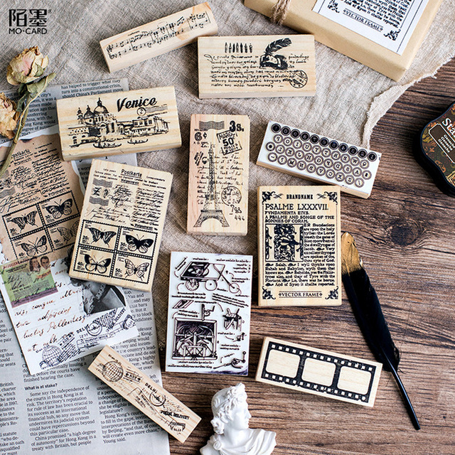 New Vintage English books landscape stamp DIY wooden rubber stamps for  scrapbooking stationery scrapbooking standard stamp