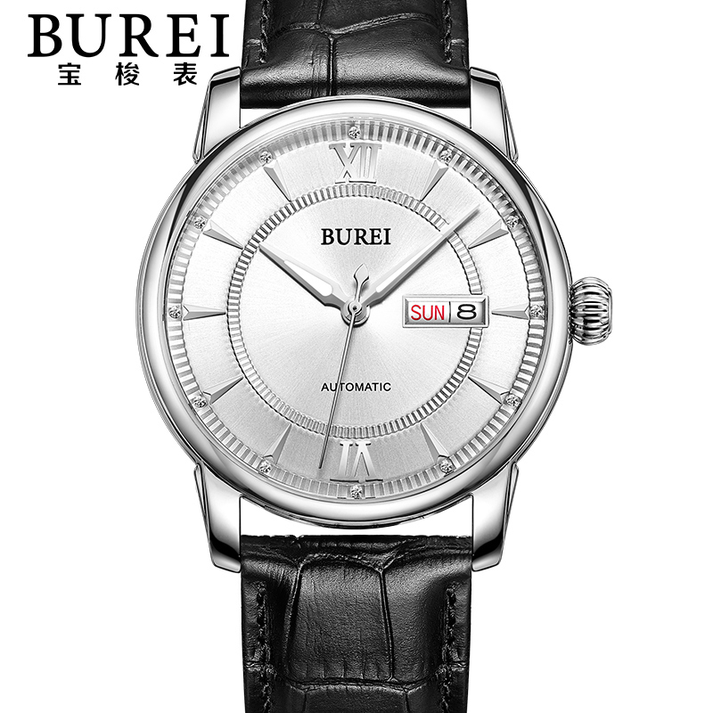 BUREI Luxury Crystal Sapphire Men Automatic Mechanical Watch Waterproof Fashion Luminous Wristwatch With Premiums Package 15012 burei brand crystal sapphire men sports automatic mechanical watch waterproof male wristwatches with premiums package 15009