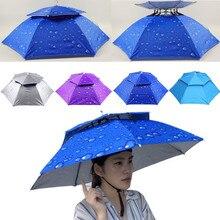 Головной убор, кепка, открытый складной двойной зонтик, шляпа от солнца, дождевик, кепка для кемпинга, рыбалки, солнцезащитная Кепка, зонтик, рыболовная снасть