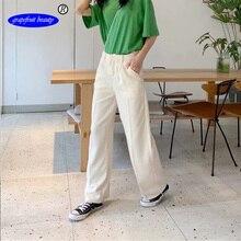 Grapefruit beauty Brand Wide-leg pants womens high waist drape feels wild straight  cotton linen loose mopping trousers summer